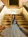 photo of Malaika Arora Sangeet Wear Grey Designer Lehenga Choli In Silk Fabric