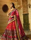 image of Embellished Red Lehenga Choli For Functions In Silk Fabric