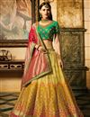 image of Silk Fabric Yellow Wedding Function Wear Fancy Lehenga
