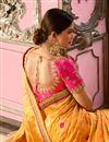 photo of Weaving Work On Reception Wear Saree In Yellow Banarasi Silk Fabric With Charming Blouse