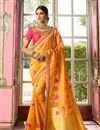image of Weaving Work On Reception Wear Saree In Yellow Banarasi Silk Fabric With Charming Blouse