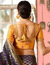 photo of Navy Blue Banarasi Silk Fabric Party Wear Saree With Weaving Work And Charming Blouse