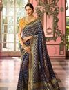 image of Navy Blue Banarasi Silk Fabric Party Wear Saree With Weaving Work And Charming Blouse