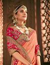 photo of Designer Function Wear Banarasi Silk Traditional Embroidered Saree In Peach