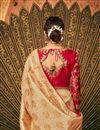 photo of Beige Wedding Function Wear Fancy Banarasi Silk Embroidered Saree