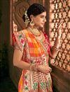 photo of Traditional Wedding Function Wear Orange Embroidered Designer Saree In Banarasi Silk