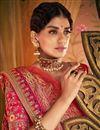 photo of Traditional Function Wear Designer Pink Embroidered Banarasi Silk Saree