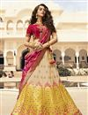 image of Function Wear Jacquard Silk Traditional Embroidered Lehenga Choli In Beige