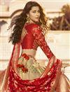 photo of Designer Function Wear Jacquard Silk Embroidered Cream Lehenga Choli