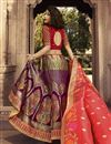 photo of Function Wear Purple Traditional Embroidered Designer 3 Piece Lehenga Choli In Jacquard Silk