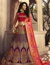 image of Function Wear Purple Traditional Embroidered Designer 3 Piece Lehenga Choli In Jacquard Silk