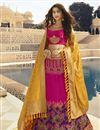 image of Jacquard Silk Embroidered Designer Sangeet Function Wear Magenta Fancy Lehenga Choli