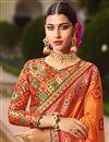photo of Fancy Sangeet Function Wear Orange Embroidered Designer Saree In Art Silk