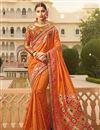 image of Fancy Sangeet Function Wear Orange Embroidered Designer Saree In Art Silk