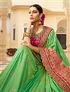 photo of Designer Sangeet Function Wear Art Silk Fancy Embroidered Saree In Sea Green