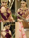 photo of Embroidery Designs On Salmon Banarasi Silk Party Wear Saree