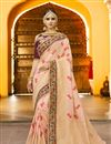 image of Embroidery Designs On Salmon Banarasi Silk Party Wear Saree