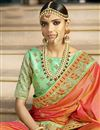 photo of Orange Function Wear Designer Saree In Banarasi Silk