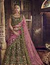 image of Function Wear Designer Green Embroidered Velvet Fabric Lehenga Choli