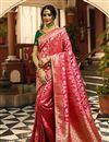 image of Weaving Work On Art Silk Fabric Dark Pink Color Saree For Mehendi Ceremony