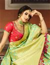 photo of Weaving Work On Art Silk Fabric Sea Green Color Function Wear Saree With Party Wear Blouse