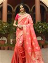 image of Function Wear Art Silk Fabric Weaving Work On Saree In Pink Color With Alluring Blouse