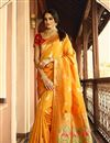 image of Weaving Work On Mustard Designer Saree In Art Silk Fabric With Admirable Blouse