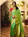 image of Weaving Work On Art Silk Fabric Green Color Saree For Mehendi Ceremony
