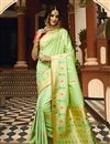 image of Weaving Work On Art Silk Fabric Sea Green Function Wear Saree With Marvelous Blouse