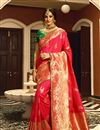 image of Traditional Dark Pink Color Saree In Art Silk Fabric With Weaving Work For Wedding Function
