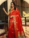 image of Weaving Work Designs On Art Silk Fabric Red Color Party Wear Saree With Mesmerizing Blouse