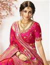 picture of Rani Color Traditional Wear Designer Jacquard And Silk Fabric Saree With Embroidered Blouse