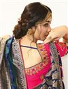 picture of Jacquard And Silk Fabric Traditional Wear Designer Saree With Embroidered Blouse In Teal Color