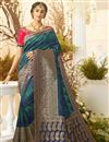 image of Traditional Wear Jacquard And Silk Fabric Designer Weaving Work Saree In Teal Color