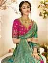 photo of Eid Special Sea Green Color Traditional Wear Designer Jacquard And Silk Fabric Weaving Work Saree