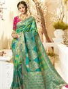 image of Eid Special Sea Green Color Traditional Wear Designer Jacquard And Silk Fabric Weaving Work Saree