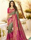image of Eid Special Jacquard And Silk Fabric Traditional Wear Designer Grey Color Saree With Embroidered Blouse