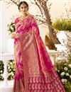 image of Eid Special Traditional Wear Pink Color Designer Weaving Work Saree In Jacquard And Silk Fabric