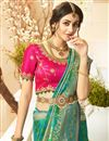 photo of Teal Color Traditional Wear Designer Saree With Embroidered Blouse In Jacquard And Silk Fabric