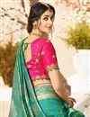 picture of Eid Special Teal Color Traditional Wear Designer Saree With Embroidered Blouse In Jacquard And Silk Fabric