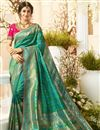 image of Eid Special Teal Color Traditional Wear Designer Saree With Embroidered Blouse In Jacquard And Silk Fabric