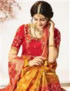 photo of Eid Special Traditional Wear Orange Color Designer Jacquard And Silk Fabric Saree With Embroidered Blouse
