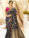 image of Navy Blue Color Traditional Wear Jacquard And Silk Fabric Designer Weaving Work Saree