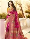 image of Eid Special Function Wear Jacquard And Silk Fabric Designer Weaving Work Saree In Magenta Color