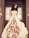 image of Designer Likable Cream Sharara Top Lehenga With Heavy Embroidery