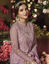 photo of Jasmin Bhasin Net Fabric Designer Function Wear Lavender Color Anarkali Suit With Heavy Embroidery