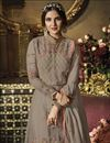 photo of Jasmin Bhasin Function Wear Net Fabric Grey Long Anarkali Dress With Embroidery Work