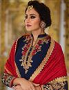 photo of Traditional Party Wear Embroidered Georgette Navy Blue Palazzo Suit
