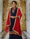 image of Traditional Party Wear Embroidered Georgette Navy Blue Palazzo Suit