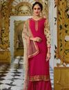 image of Party Style Pink Traditional Embroidered Palazzo Suit In Georgette